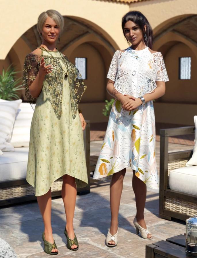 Image shows two women wearing the dForce Nuits D'été for Genesis 8 Female(s) by Moonscape Graphics for Daz 3D.