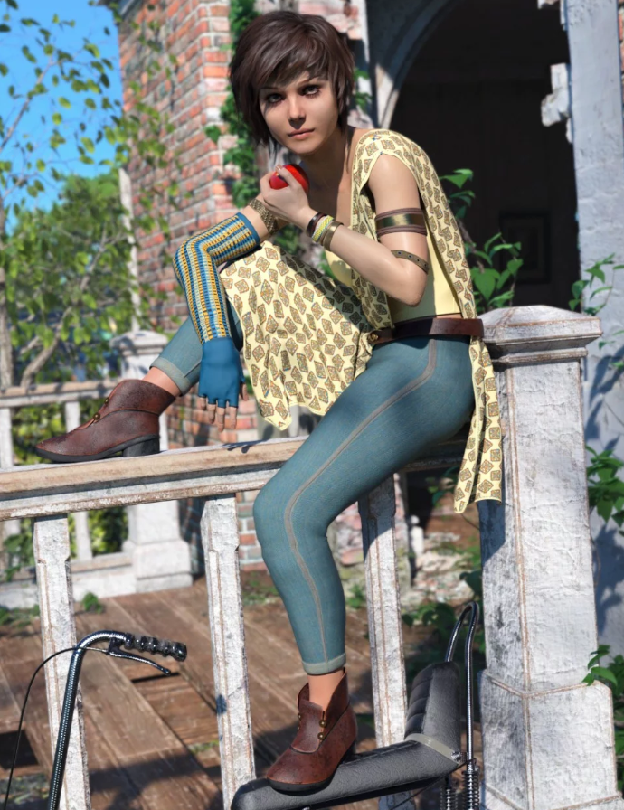 Image shows a woman sitting on a wall, wearing the Tali outfit for Genesis 8 Female(s) from Daz3D by Moonscape Graphics.