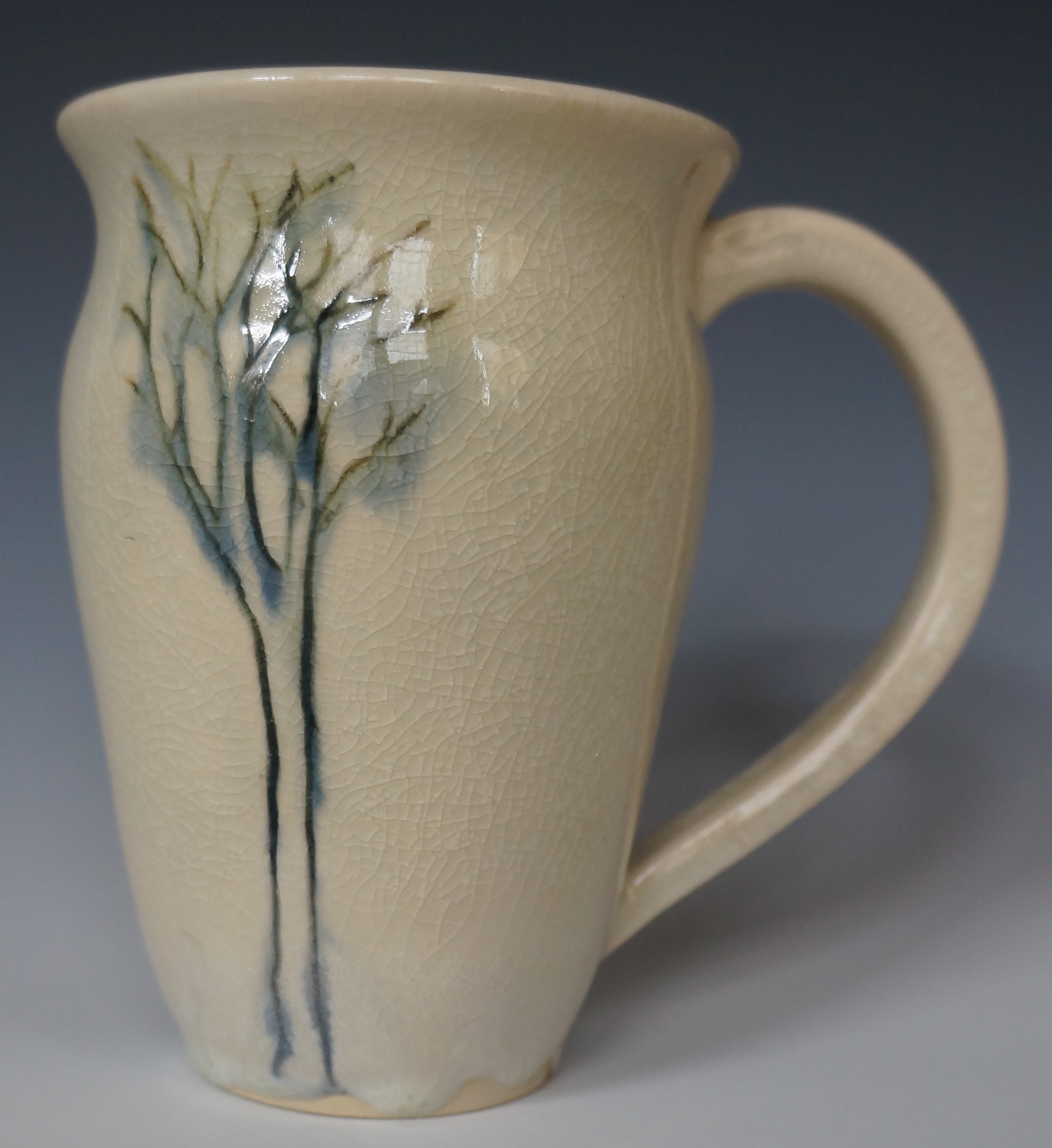 single white tree mug