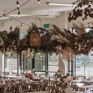 flower hanging wedding reception