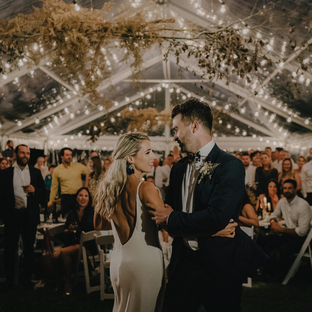 bride adn groom dance