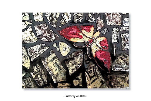 Butterfly on Raku. Greeting card.