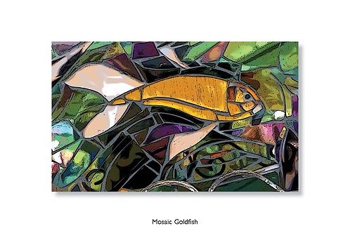 Mosaic Goldfish. Greeting card.