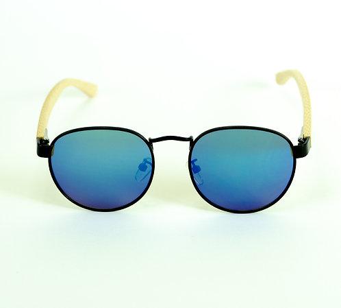 Óculos de Sol de Madeira - Azul Espelhado com Preto - Coleção Turim