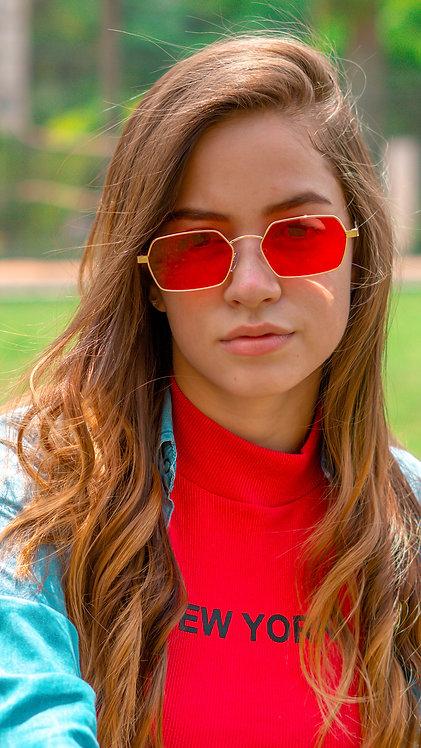 Óculos de Sol - Coleção Madri - Vermelho com Dourado