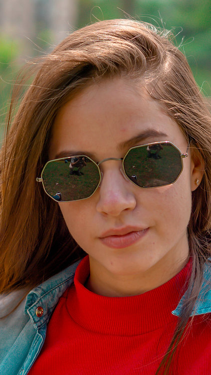 Óculos de Sol Octagonal - Coleção Valência - Preto com Grafite