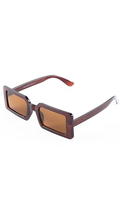 Óculos retangular - Marrom - Kingston