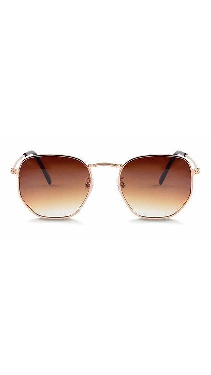 Óculos hexagonal - Dourado - Lentes marrom