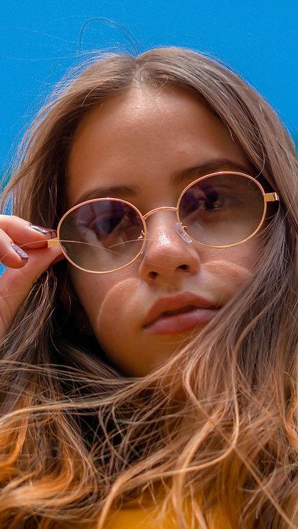 Óculos de Sol Retrô - Coleção San Marino - Verde Degradê com Dourado