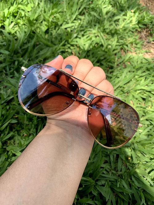 Óculos aviador - Marrom com dourado - Coleção Londres