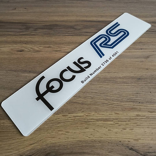 Focus RS Mark 1 Build Number Show Plate