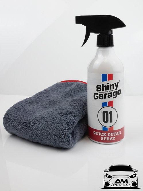 Shiny Garage Quick Detail Spray And Shiny Garage Plush Microfiber Cloth Bundle
