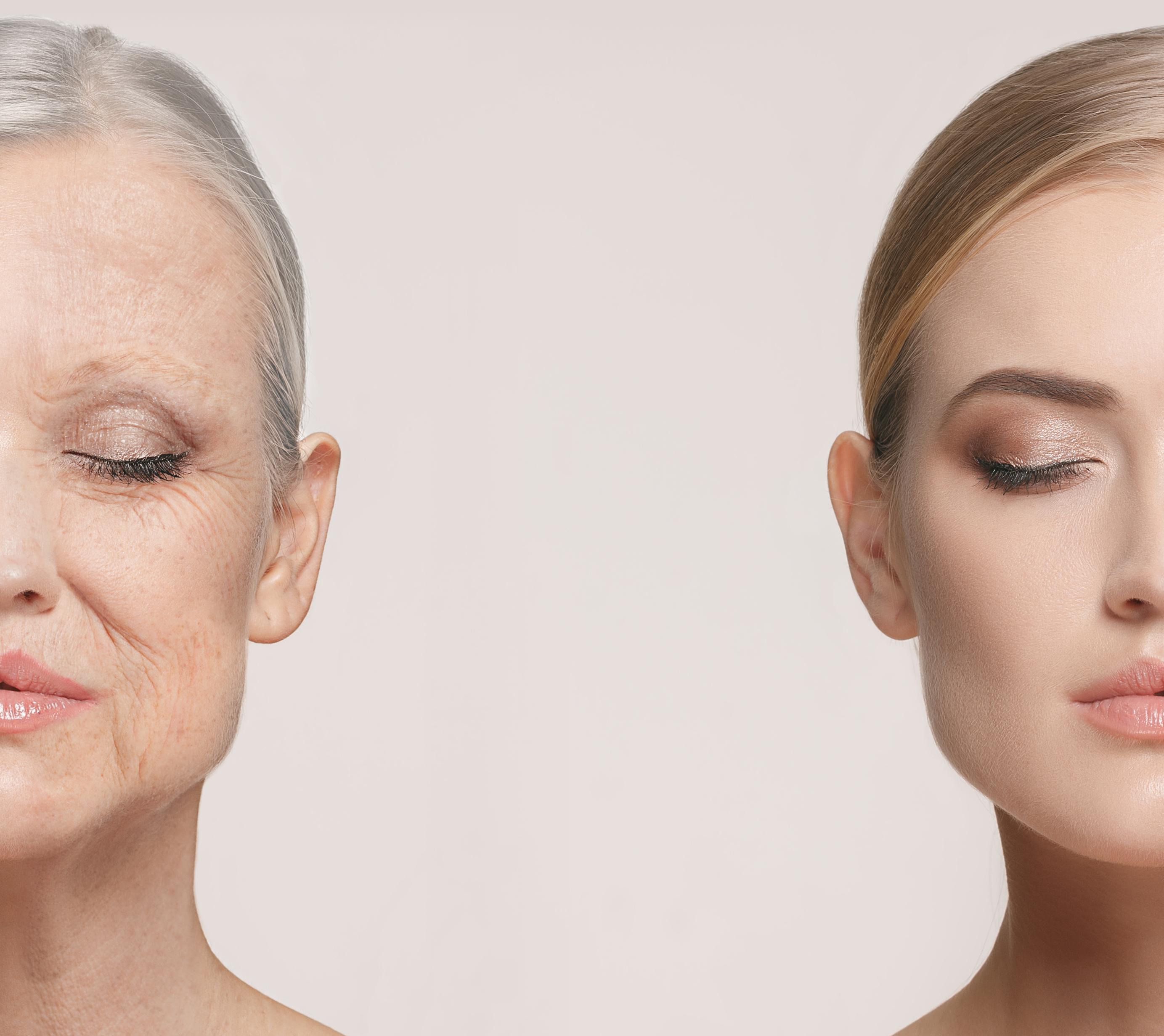 Comparison. Portrait of beautiful woman