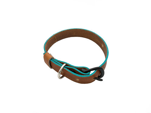 Leather Dog Collar With Color Accents - YOU PICK ACCENT COLOR