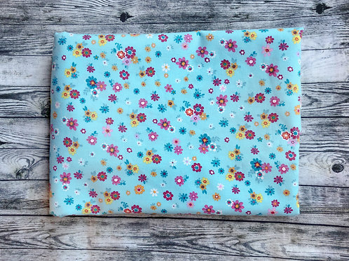 Bandanas- Blue with Colorful Little Flowers