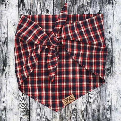 Navy, Red, and White Flannel Single Layer Tie Bandana