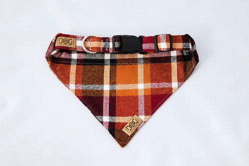 Orange and Maroon Fall Flannel Dog Bandanas