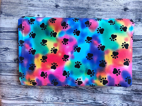 Collar-Tie Dye with Black Paw Prints
