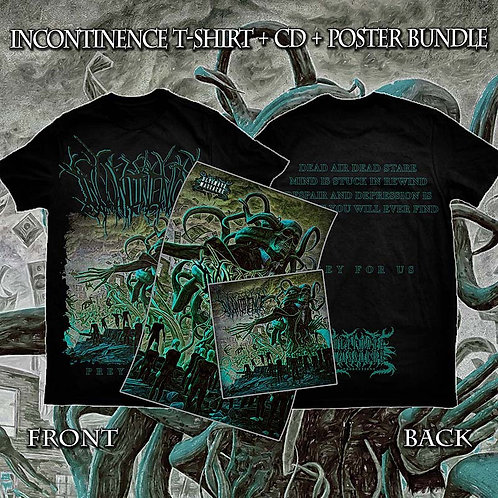 "Incontinence ""Prey For Us"" t-shirt + CD + poster bundle VERY LIMITED!!!"