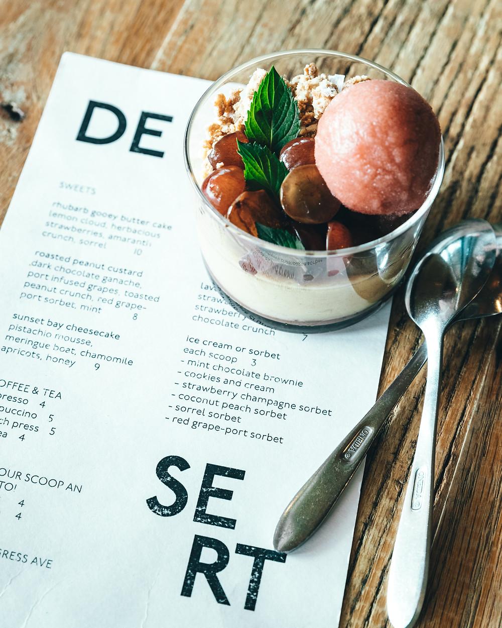 Carte des desserts d'un restaurant