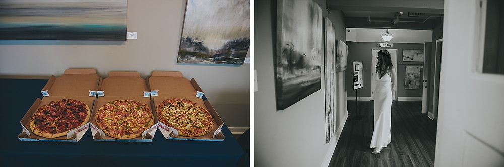 art gallery pizza party