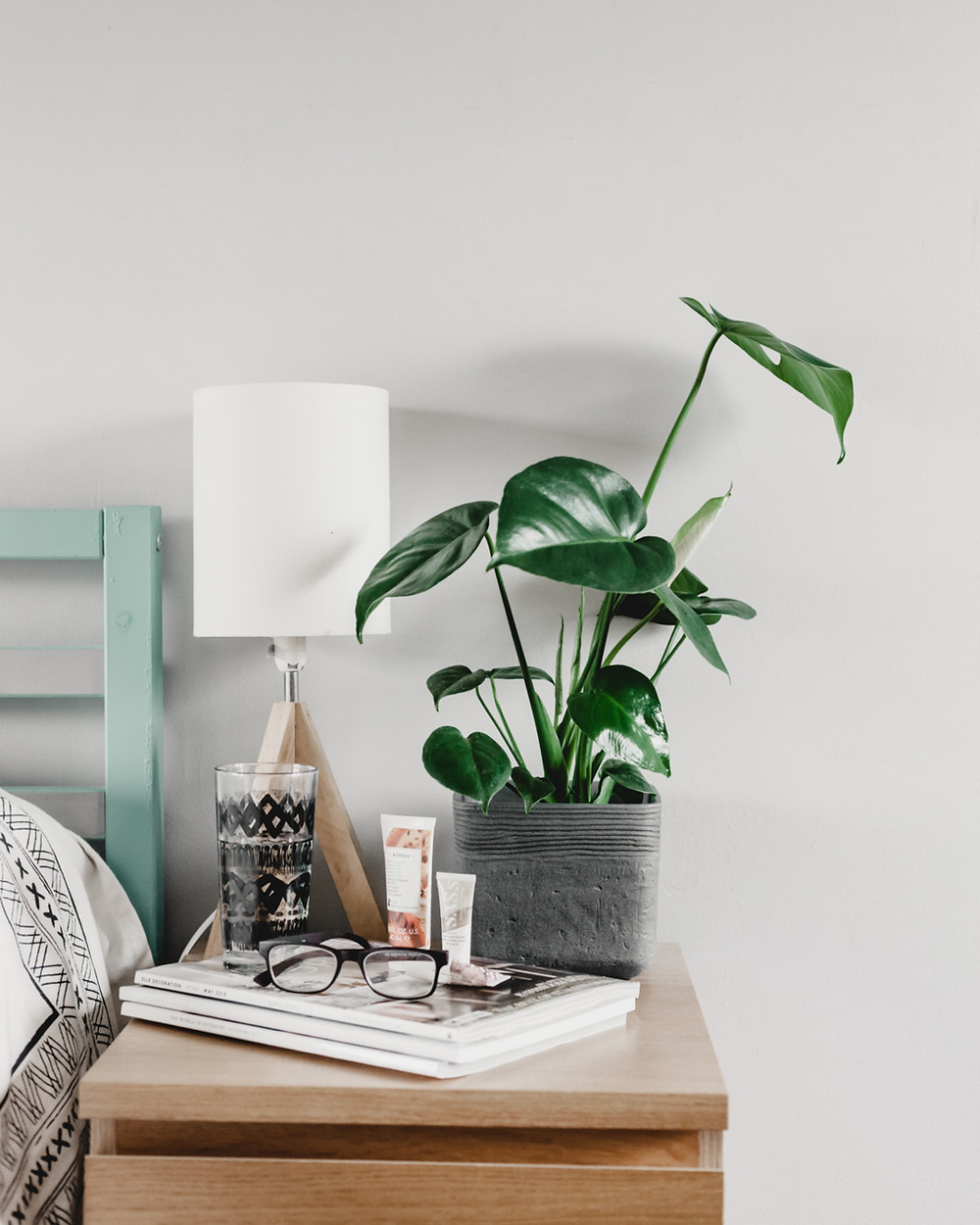 Monstera Plant on Bedside Table