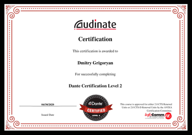 certification Dante Level-2