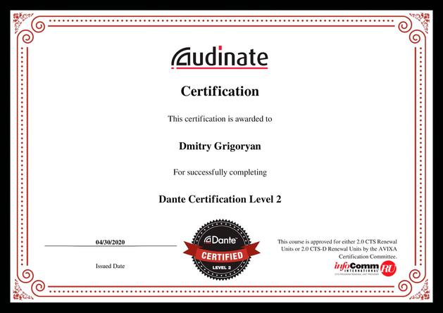 certification Dante Level-2