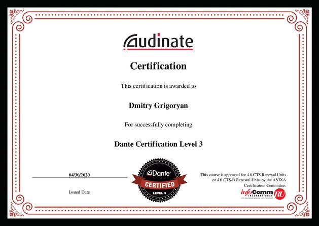 certification Dante Level-3