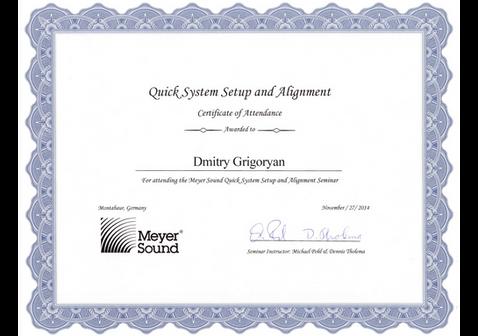 Meyer Sound Certificate