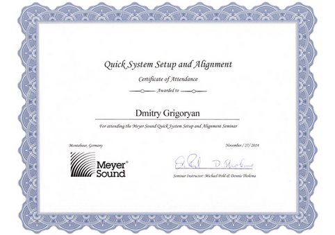 Meyer Sound Certificate