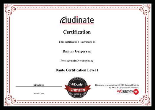 certification Dante Level-1