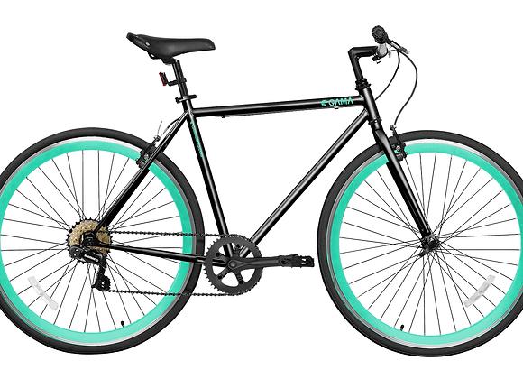 Gama Bikes Alley Cat 6S Black Turquoise 700C