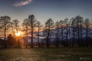 Sončni zahod na Ljubljanskem barju