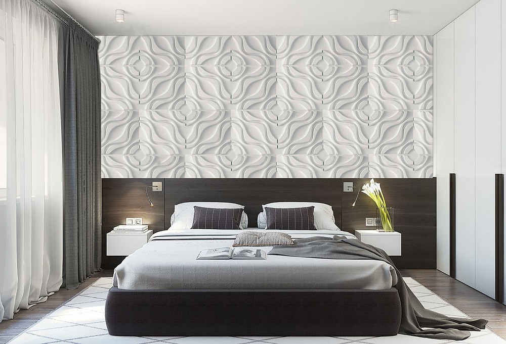 bedroom decorated with De Wolfe 3d wall panels