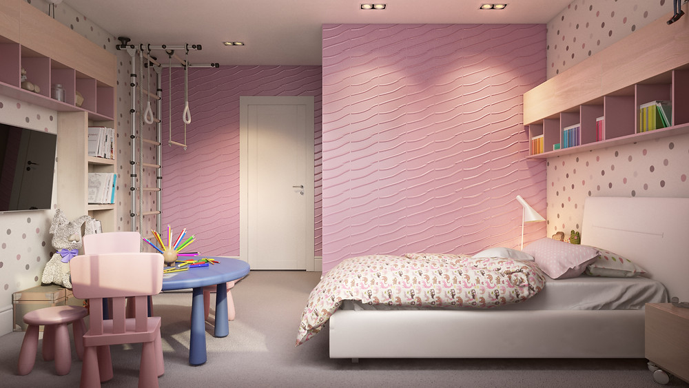 pink girls room decorated with 3d wall panels by De Wolfe Walls