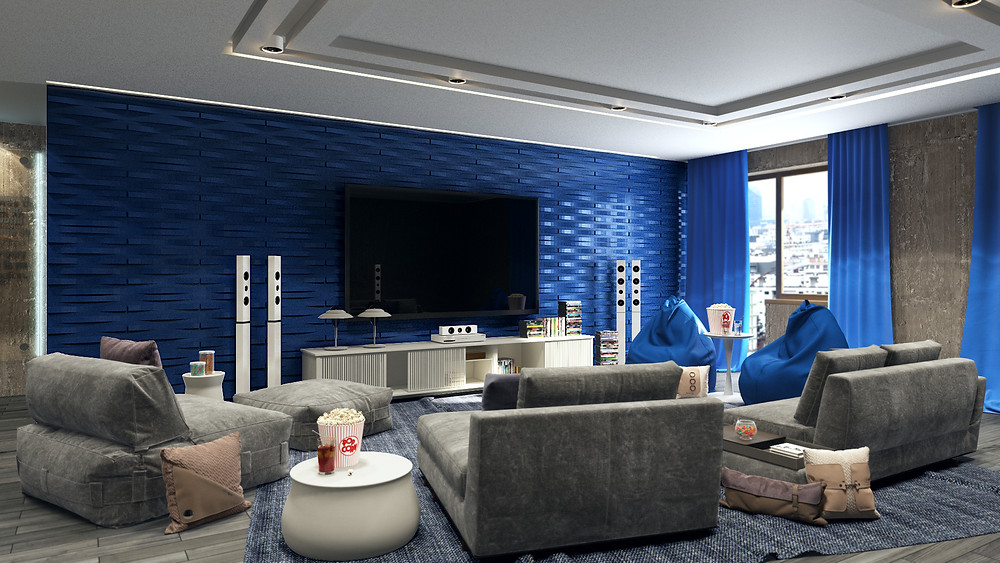 Living room decorated with blue 3D wall panels by De Wolfe Walls