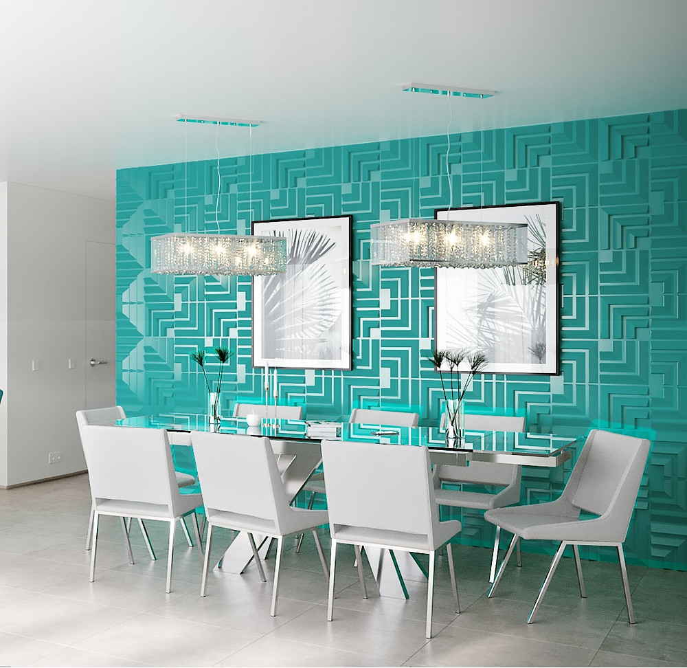 dining room decorated with 3D wall panels by De Wolfe Wall Forms