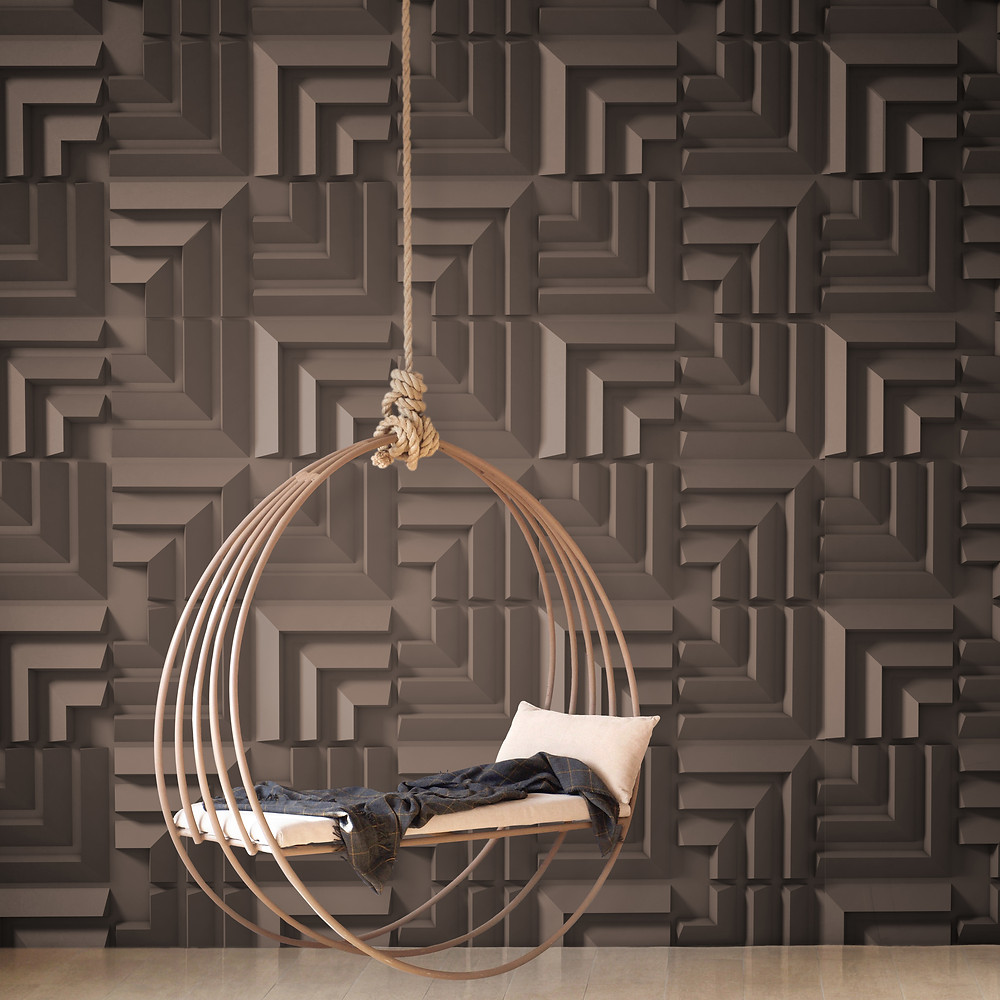 spa room with a chair decorated with 3D wall panels by De Wolfe Walls