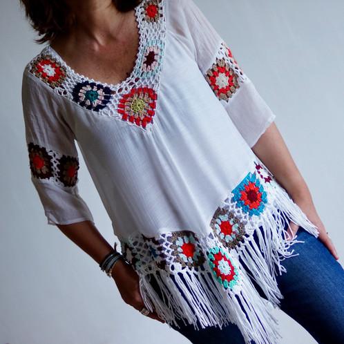 tunique franges hippie chic eshop les clementines du sud mode bijoux lifestyle. Black Bedroom Furniture Sets. Home Design Ideas
