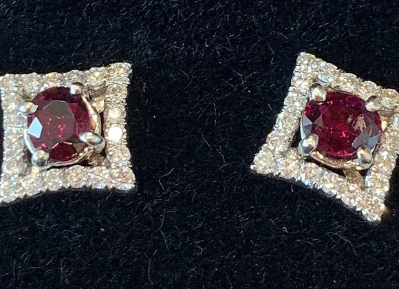 White Gold Diamond & Ruby Studs
