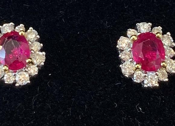 White gold Ruby & Diamond Studs