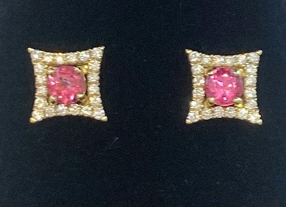 Yellow Gold Sapphire & Diamond Earrings