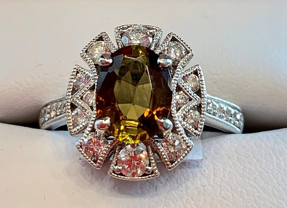 White Gold Andulsite & Diamond Ring