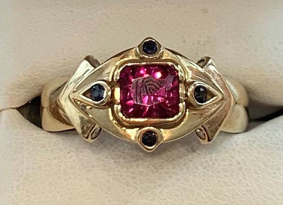 Yellow Gold Rubelite & Sapphire Ring