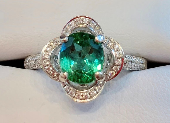 White Gold Tourmaline & Diamond Ring