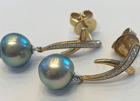 Yellow Gold Pearl & Diamond Earrings