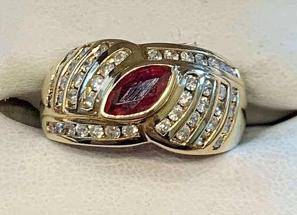 Yellow Gold Ruby & Diamond Ring