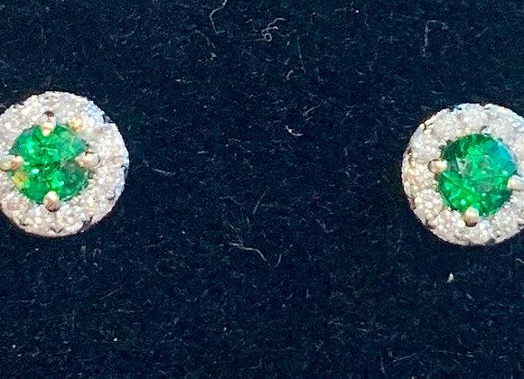 White Gold Emerald & Diamond Studs