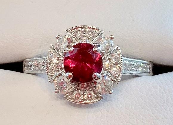 White Gold Ruby & Diamond Ring